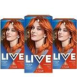 Schwarzkopf Live Kleuring + lift, oranje haarverf, verpakking van 3 stuks, permanente kleur met levendige resultaten, L74 Tan