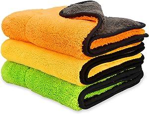 iTavah Mikrofasertücher Reinigungstücher Auto Tücher - extrem Saugstark & Lackschonend mit 840GSM - Profi Autopflege Poliertuch Trockentuch zur Reinigung von Auto Motorrad Haushalt 3pcs