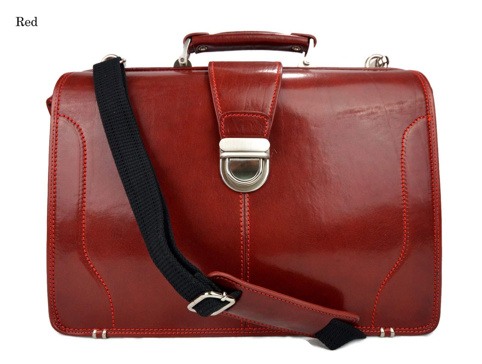 Doctor bag leather briefcase mens doctor bag XXL handbag ladies medical bag leatherbag vintage leather red made in Italy luxury bag travel weekender - handmade-bags