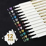 Rotuladores metálicos, 12 colores Rotuladores metálicos para hacer tarjetas Álbum de fotos de bricolaje Papel de boda Cerámic