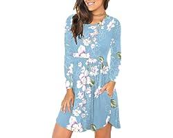 PCEAIIH Women's Sleeveless/Long Sleeve Loose Plain Dresses Casual Short Dress with Pockets