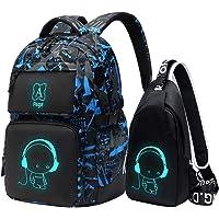 Asge Rucksack Jungen Schulrucksack Mädchen Teenager Jugendliche Coole Schule Daypacks Kinder Reflektierender Schultasche…