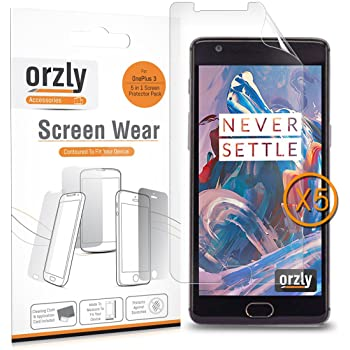 Orzly Multi-Pack of 5 Transparent Screen Guards Sheets for the OnePlus 3