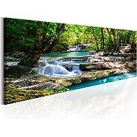 decomonkey Bilder Wasserfall 120x40 cm 1 Teilig Leinwandbilder Bild auf Leinwand Vlies Wandbild Kunstdruck Wanddeko Wand…