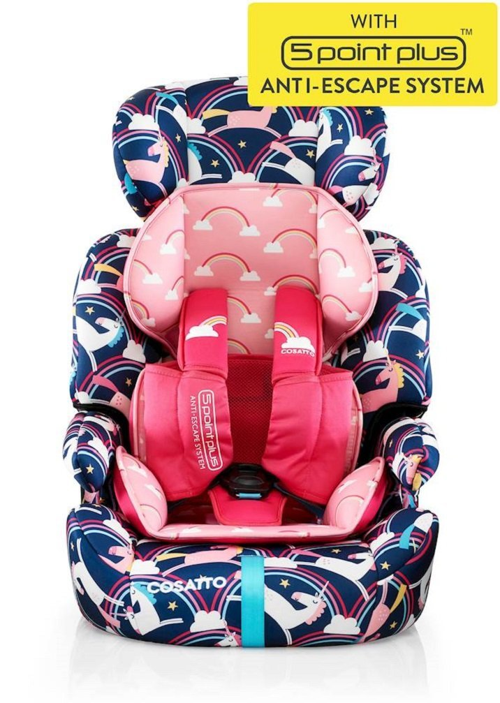 Cosatto Zoomi Car Seat Group 123, 9-36 kg, Magic Unicorns Cosatto Cosatto Zoomi Group 123 Car Seat five point plus anti escape system harness - ideal for keeping little wrigglers in place Suitable from 9 kg-36 kg zoomi's an investment; two part reversible seat liner adjustable headrest chest and tummy pads Removable, washable covers to keep your car seat pristine 4