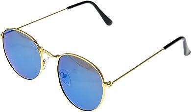 J K Enterprise UV Protected Round Unisex Sunglasses - (JK_006 58 mm Blue Lens)