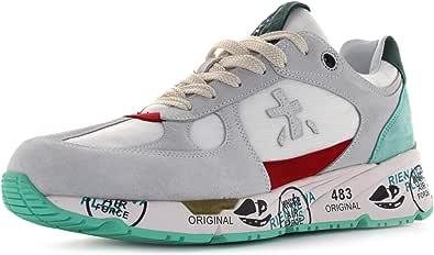 PREMIATA Scarpa Uomo Sneakers in Pelle/Tessuto Bianco/Azzurro US20PR10