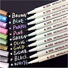 Audel Metallic Marker Pens, Satz von 10 Farben für Kartenherstellung DIY Fotoalbum Gebrauch auf irgendeiner Oberfläche-Papier Glas Kunststoff Keramik