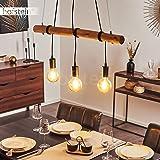 Suspension Seegaard en bois clair et métal noir, 3 lampes pendantes vintages idéal au dessus d'une table de salle à manger ré