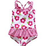 ALove Baby Girl's Floral One Piece Striped Ruffle Swimsuit