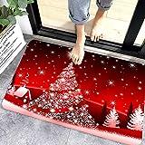 WELLXUNK® Navidad Antideslizante Felpudo, Alfombras de Decoración de Navidad Antideslizante y Absorbente, Alfombrillas Decora