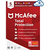 McAfee Total Protection 2020, 5 Dispositivi, 1 Anno, Software Antivirus, Sicurezza Internet, Gestore...