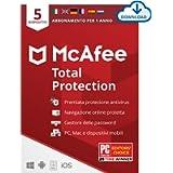 McAfee Total Protection 2021, 5 Dispositivi, 1 Anno, Software Antivirus, Sicurezza Internet, Gestore delle Password…