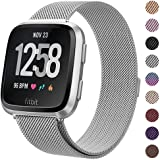 Milanese Metal Bands Compatible for Fitbit Versa Bands/Versa Lite Edition Bands for Women Men, Replacement Stainless Steel Wr