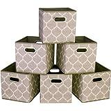i BKGOO Lot de 6 bacs cubiques de rangement pliables Organisateur de boîte en tissu de en lin noir avec poignée en corde de c