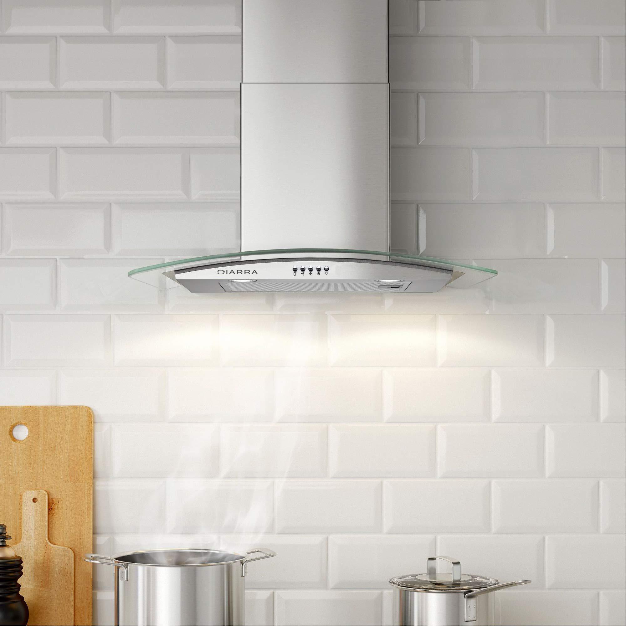 Inox550 HLed Verreamp; M³ 60cm Lampe Hotte Aspirante Ciarra CxdhosrtQB