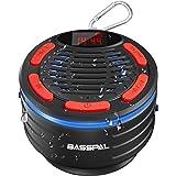 Bluetooth Lautsprecher, Basspal IPX7 Wasserdicht Tragbares kabelloser Bluetooth Shower Speaker mit HD Sound, LED Display and
