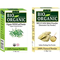 INDUS VALLEY Neem Leaf Powder With Multani Mitti Powder - 100% Natural, Pure and Organic For Hair and Skin Care (100g…