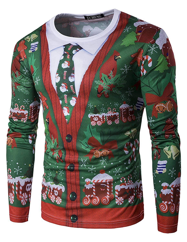 YCHENG Camiseta Navidad Hombre Moda Mangas Largas Casual Santa y Nieve Alces Tops