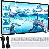 Powerextra Pantalla de Proyector de 100 Pulgadas 16: 9 HD Proyección Portátil Plegable Antiarrugas Pantalla para Cine en Casa
