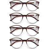MODFANS 4-pack leesbril modieus bedrukt voor mannen vrouwen, bril rond frame comfort lente scharnieren, lezers zwart-bruin-sc