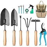 MOSFiATA Ensemble d'outils de jardin , 12 outils de jardinage, Equipé d'une bêche, de ciseaux, d'un pulvérisateur, d'un râtea