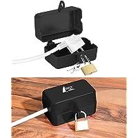 AGT Steckerschloss: Abschließbare Stromstecker-Schutzbox mit Vorhängeschloss, 2 Schlüssel (Stecker Safe)