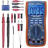 ETEPON Multimeter, TRMS 6000 räknar digitala ohmmetrar manuell och automatisk intervall, mäter spänning, ström, motstånd, kon