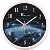 Amazon Brand - Solimo 12-inch Wall Clock - Galaxy (Step Movement, White Frame)