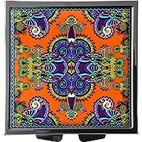 metALUm Pillendose/quadratisch / Modell Marco/Blumenmuster und Ornamente in schwarz und orange / 41010012 preisvergleich bei billige-tabletten.eu