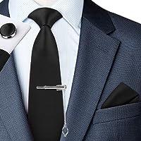 Men Tie Set - Silk Classic Men Tie with Handkerchief & Cufflinks & Necktie & Pocket Square - Handmade Artificial Silk in…