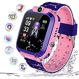 PTHTECHUS Niños Smartwatch Impermeable, Reloj Inteligente Phone con LBS Tracker SOS Chat de Voz Cámara Despertador Juego Cálc