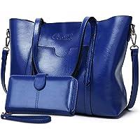 BestoU Damen Handtasche Leder Groß Tasche Shopper Schultertasche Umhängetasche Henkeltasche Damen 2pcs Set (Blau)