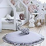 Kinderteppich, Baby krabbeln Matte Neugeborenes Baby Padded Spiel Matten Baumwolle Krabbeln Mat Spiel Teppiche Runde Boden Te