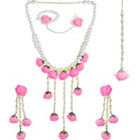 YouBella Jewellery Set for Women Floret Gota Patti Necklace, Earrings, Bracelet & Maang Tika for Women & Girls (Mehandi…