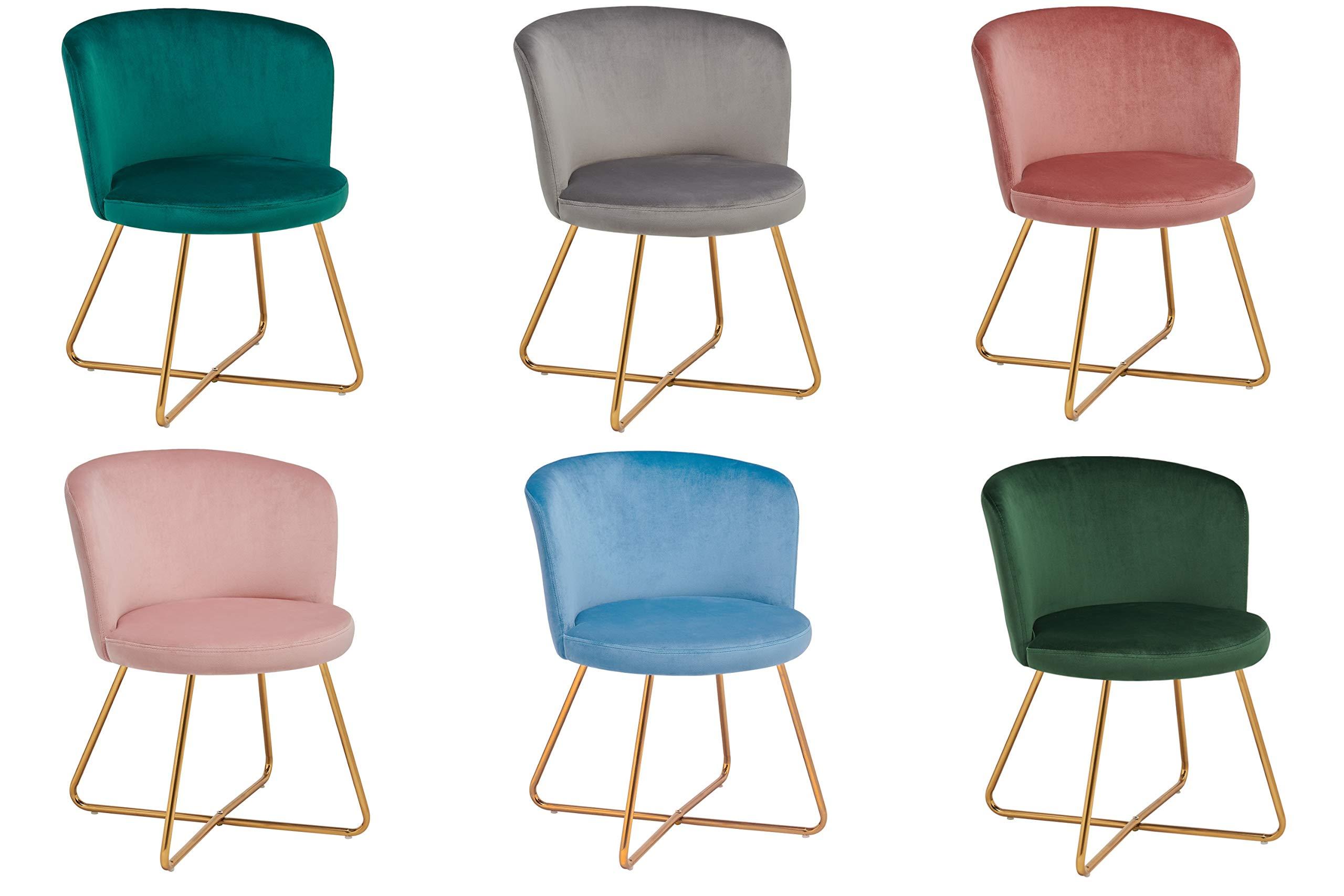 Duhome 2er Set Esszimmerstuhl aus Stoff Samt Hell Blau Polsterstuhl Retro Design Stuhl mit Rückenlehne Besucherstuhl Metallbeine Farbauswahl 8076X 1