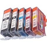 Start - 5 Cartouches d'encre compatibles avec Puce remplace PGI-520 / CLI-521, Noir, Cyan, Magenta, Jaune pour Canon Pixma iP3600, iP4600, iP4700, MP540, MP550, MP560, MP620, MP630, MP640, MP980, MP990, MX860, MX870
