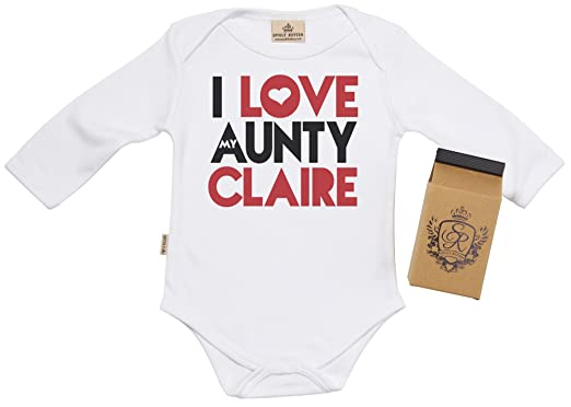 Sr gift boxed personalised i love aunty claire baby babygrow sr gift boxed personalised i love aunty claire baby babygrow baby onesie baby vest personalised baby clothing amazon clothing negle Choice Image