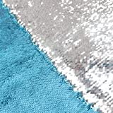 DUOBAO Turquoise to Silver Sequin Fabric by The Yard Mermaid Fabric Two Color Change Sequin Fabric Aqual Reversable Sequin Fa