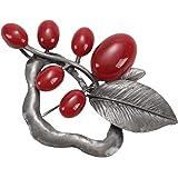TOOGOO Plata Antigua + Rojo Broche Vintage de Piedra de opalo para Mujer Pines Broche de Flor Grande Pistola Apto Sueter Bufa