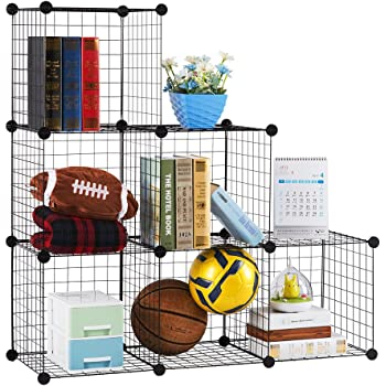 LANGRIA 6-Cube DIY Wire Grid Bookcase, Multi-Use Modular Storage Shelving Rack, Open Organiser Closet Cabinet for Books, Toys, Clothes, Tools, Max Capacity 20kg per Cube, Black