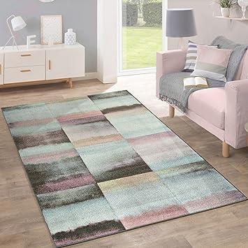 Amazonde Designer Teppich Modern Wohnzimmer Farbverlauf Karo Muster Pastell Grn Gelb Lila