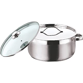 Vinod Stainless Steel Two Tone Saucepot with Glass Lid   20 cm, 3 Ltr  Induction Friendly