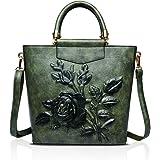 NICOLE & DORIS Womens PU-Leder 3-dimensionale Drucken Vintage Schultertasche Damen Handtaschen Tote, Geldbörse Grün