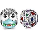 Marni's - 2 charm Pandora Style | Regali originali da donna | Ciondoli da donna | Compatibile bracciale Pandora Charm argento