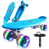 Skateboard Complete Mini Cruiser 22' Retro Skateboard for Kids Teens Adults, LED Light up Wheels With All-in-One Skate T…