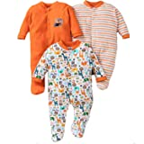 MY BABY TOWN Baby Multi-Color Long Sleeve Cotton Sleep Suit Romper for Boys and Girls Set of 3 (6-9 Months, Orange)