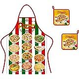 Ensemble tablier + 2 maniques, tissu coton, pizza italienne, produits italiens.