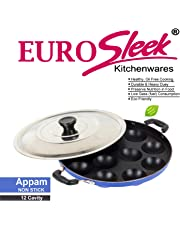 EuroSleek Aluminium 12 Cavities Non Stick Appam Patra with Lid