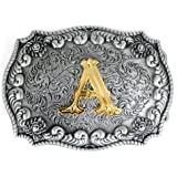 Hebillas de cinturón para hombre con letra inglesa 3D, estilo occidental del alfabeto de vaquero con letra inicial para hombr